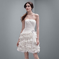ivory, Short, Blush, Column, pleated skirt, crinkle chiffon