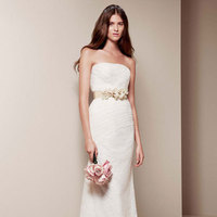 Wedding Dresses, ivory, Vera wang, Lace, Strapless, Wedding dress, David's Bridal, Column, Sleeveless, White by vera wang