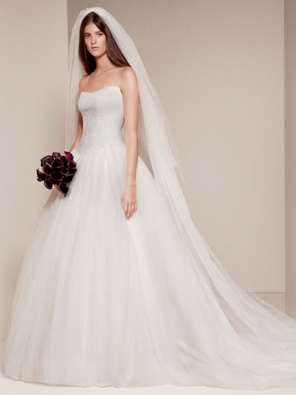 Ball Gown Wedding Dresses By Vera Wang : White by vera wang style vw ball gown with chantilly
