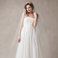 white, ivory, Lace, Strapless, A-line, Sheath, Sleeveless, point d'espirit