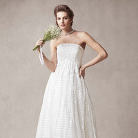 ivory, Lace, Strapless, A-line, Organza, Sleeveless, empire waist