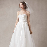 ivory, Lace, Sweetheart, Strapless, Organza, Ball gown, floral appliques