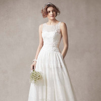 ivory, Lace, Tulle, Scoop, Sleeveless, Ball gown, point d'espirit
