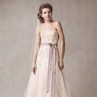 Strapless, A-line, Tulle, Sleeveless, dark antique mauve