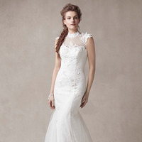 ivory, Mermaid, Tulle, high-neck, chantilly lace, illusion neck