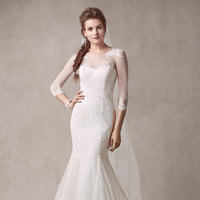 ivory, Mermaid, Tulle, scoop neckline, chantilly lace, three-quarter sleeves