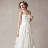 ivory, Lace, Strapless, A-line, Tulle, Sleeveless