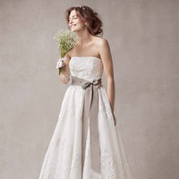ivory, Lace, Strapless, Organza, Sleeveless, Ball gown