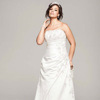 ivory, Lace, Champagne, Strapless, A-line, Satin, Floor, Sleeveless