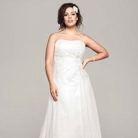 white, ivory, Lace, Strapless, A-line, Beading, Sleeveless