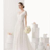 Elegant Sheer V neck Brush Train Cheap Wedding Dress UK