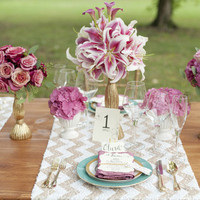 Gold Chevron Tablescape