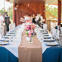 Blue and Tan Tablescape