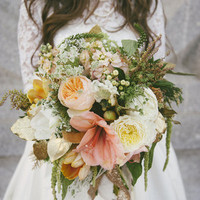 Peach and Green Winter Bouquet