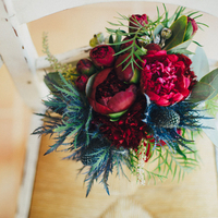 Winter Thistle and Peony Bouquet