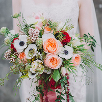 Peach, Red, and Green Bouquet