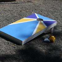 Blue and Yellow Cornhole Board