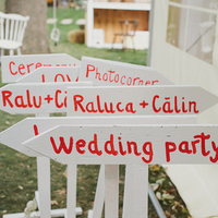 White and Red Wedding Signs