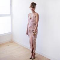 Blush pink maxi wrap dress