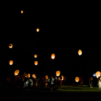 Releasing Flying Sky Lanterns