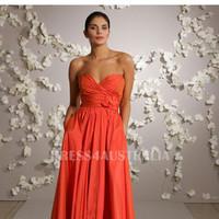 Orange A-Line Sweetheart Neckline Taffeta Pockets Accent Floor Length Bridesmaid Dresses
