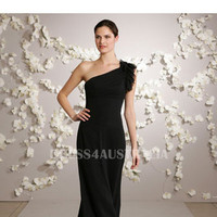 Gorgeous Dark Navy One Shoulder Chiffon Floor Length Bridesmaid Dresses