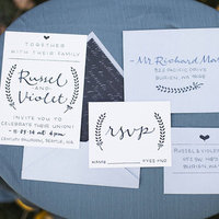 Blue Calligraphy Invitations