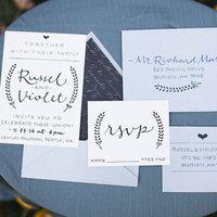 Blue Calligraphy Invitations