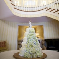 Dot and Hydrangea Wedding Cake