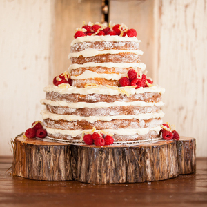 Naked Cake with Raspberries