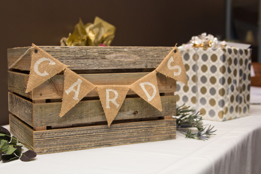 Guests popped cards and notes into a wooden crate decorated with – Wooden Card Box Wedding