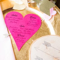 Pink Heart Menu Cards