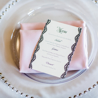 Black Pink and Silver Place Setting