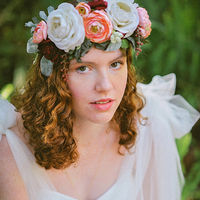 Coral and Burgundy Floral Crown