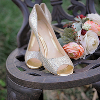 Metallic Peep-Toe Bridal Shoes
