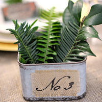 Fern and Burlap Table Numbers