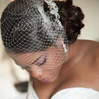 Pretty Updo with Birdcage Veil
