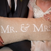 Burlap Mr. and Mrs. Pillow