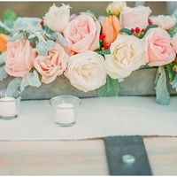 Peach Rose and Tulip Centerpiece