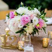 Glam Peony and Mum Centerpiece