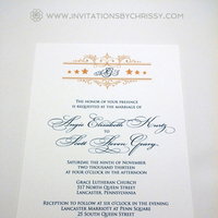 Stationery, white, red, blue, gold, invitation, Monogram, Military, Stars