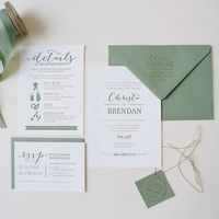 Sage Green Romantic Wedding Invitations