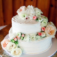 Ranunculus and Rose Cake