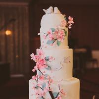 Cherry Blossom + Birds Cake
