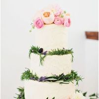 Pink Blooms and Greens Cake