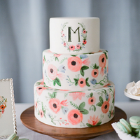 Watercolor Floral Print Cake
