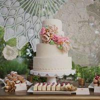 Lace Sugar Flower Cake