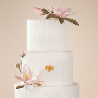 Modern Bee Garden Wedding Cake