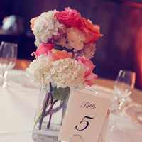 Coral and Ivory Centerpieces