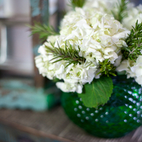Emerald and Ivory Centerpiece
